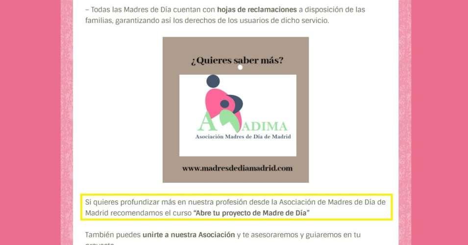 Como ser madre de día - La Asociación de Madres de Día de Madrid recomienda mi curso online